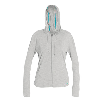 WOMENS HEATHERED VENTX LONG SLEEVE FRONT ZIP HOODIE UV 2 SP21