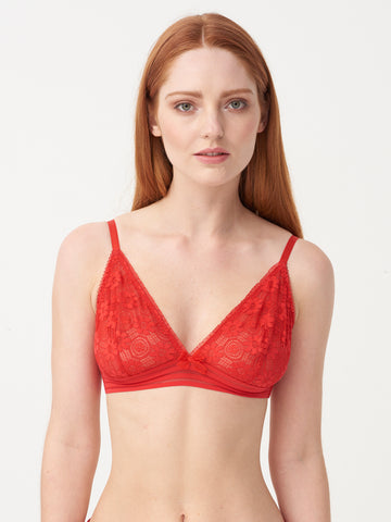 Charlie Triangle Bra in Red