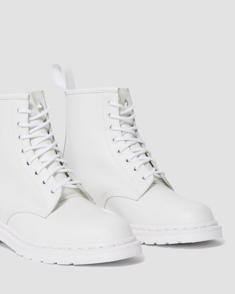 WOMEN'S 1460 MONO SMOOTH LEATHER LACE UP BOOTS - WHITE