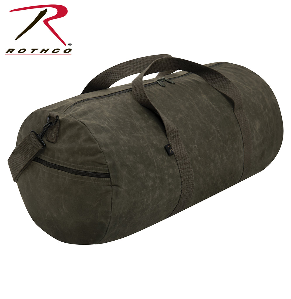 Rothco Waxed Canvas Shoulder Duffle Bag - 24 Inch - Olive Drab