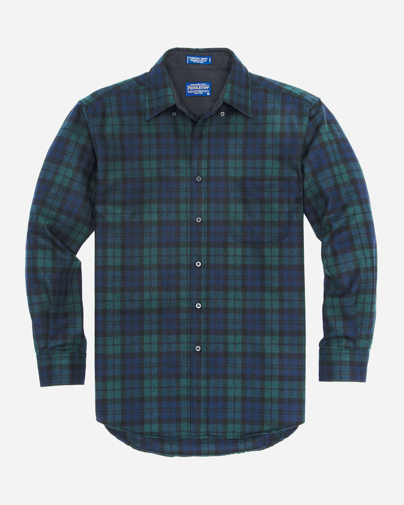 MEN'S FITTED FIRESIDE SHIRT - BLACK WATCH TARTAN