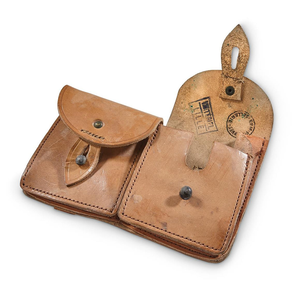 FRENCH LEATHER DOUBLE MAGAZINE POUCH