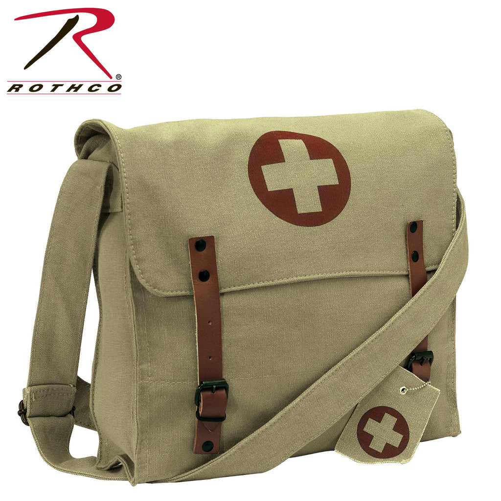 Vintage Medic Canvas Bag With Cross - Khaki