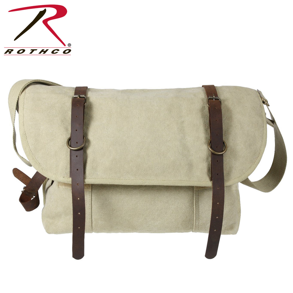 Rothco Vintage Canvas Explorer Shoulder Bag With Leather Accents - Khaki