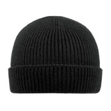 Short Ribbed Knit Cuffed Beanie - Black