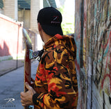 SAVAGE ORANGE CAMO PULLOVER HOODED SWEATSHIRT - ORANGE/BLACK