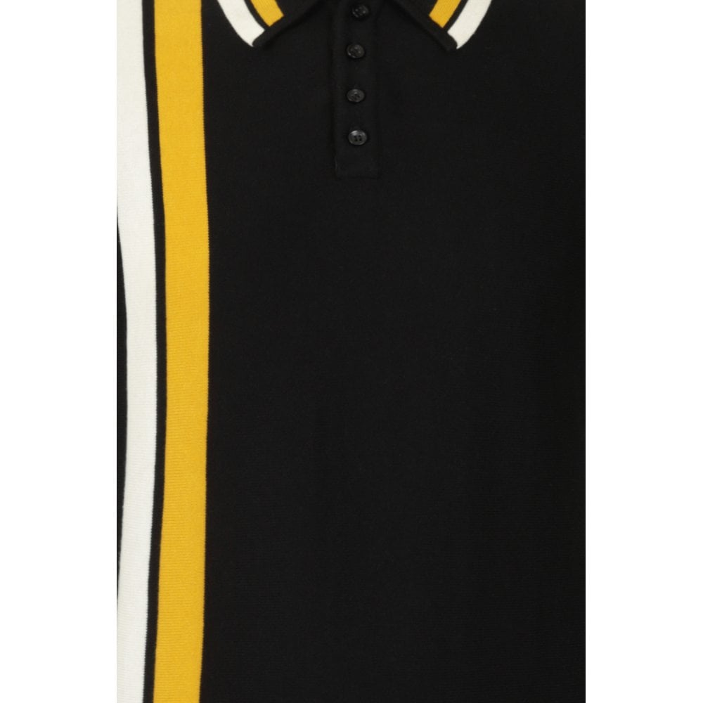 MEN'S PERU DOUBLE STRIPED POLO SHIRT - BLACK