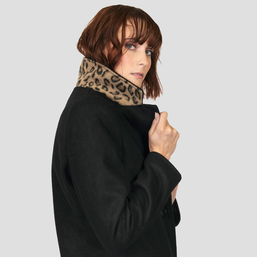 WOMEN'S RONNIE WOOL COAT W/ LEOPARD - BLACK