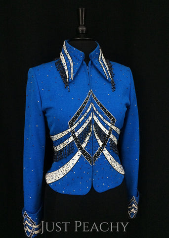 Blue, Black and White Jacket with Beaded Fringe by Berry Fit ~ Ladies Medium - Just Peachy