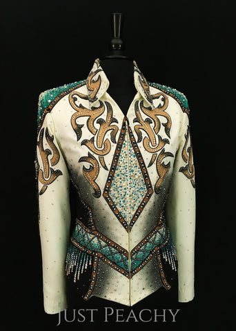 Berry Fit horse show jacket in ivory, earthtones and teal