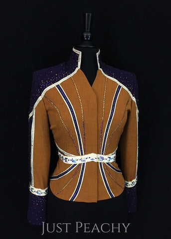 Berry Fit horse show outfit with chaps in deep amethyst and bronze