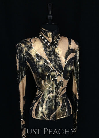Black, Tan and Gold Jacket by Connie's Customs ~ Ladies XS - Just Peachy