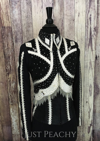 Black and white horse show vest set with fringe