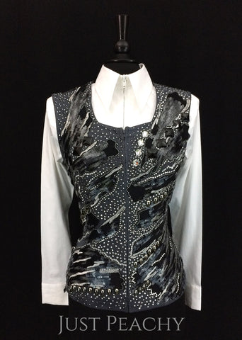 Charcoal, Black and Silver Vest by Unbridled ~ Ladies Medium/Large