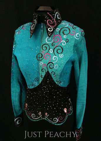 Teal and Black Jacket with Beaded Fringe by DHM ~ Ladies Small - Just Peachy