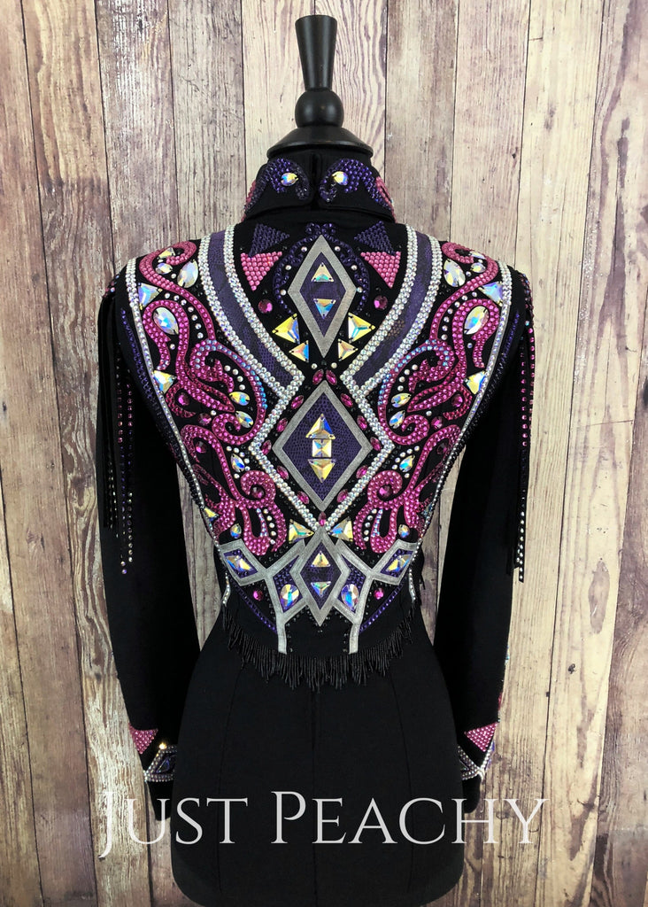 Raspberry And Purple Velvet Horsemanship Bolero Vest Set By Dardar8 Designs ~ Ladies Xs Western