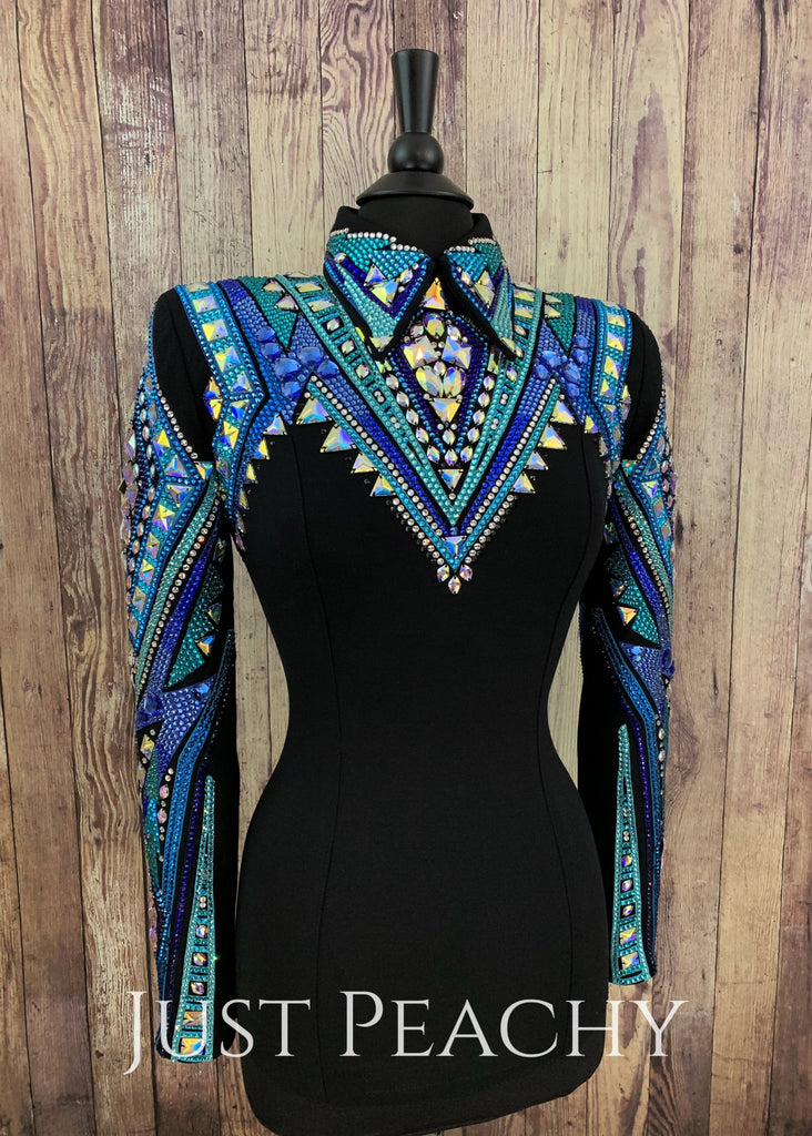Royal Blue Teal And Black Horsemanship Shirt By Dardar8 Designs ~ Ladies Small/medium Western
