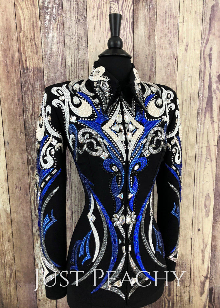Royal Blue White Gunmetal And Black Showmanship Jacket By Dardar8 ~ Ladies Small Western