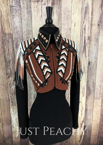 Western Horsemanship Shirt and Bolero Vest Set by Deb Moyer Show Tack - Just Peachy Show Clothing