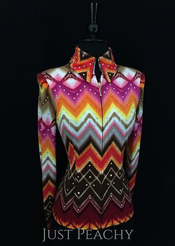 Tropical Chevron Jacket by Dry Creek Designs ~ Ladies Small - Just Peachy