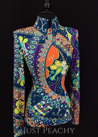 Abstract Multi-Color Horsemanship Shirt by Dry Creek Designs ~ Ladies XS/Small - Just Peachy