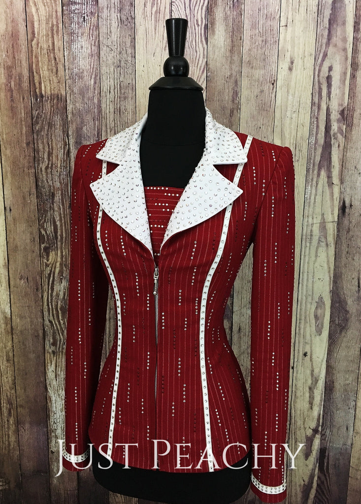 Red And White Pinstripe Showmanship Suit By Dry Creek Designs ~ Youth Xl/ladies Xs Western Outfit