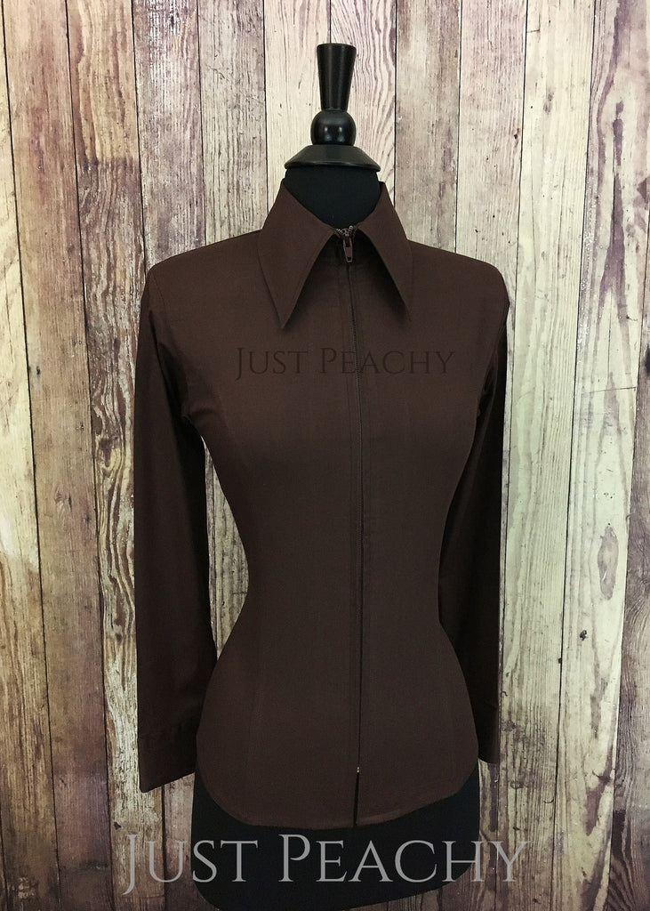 a2cdb5ca Just Peachy Zip Up Fitted Show Shirt ~ Chocolate Brown