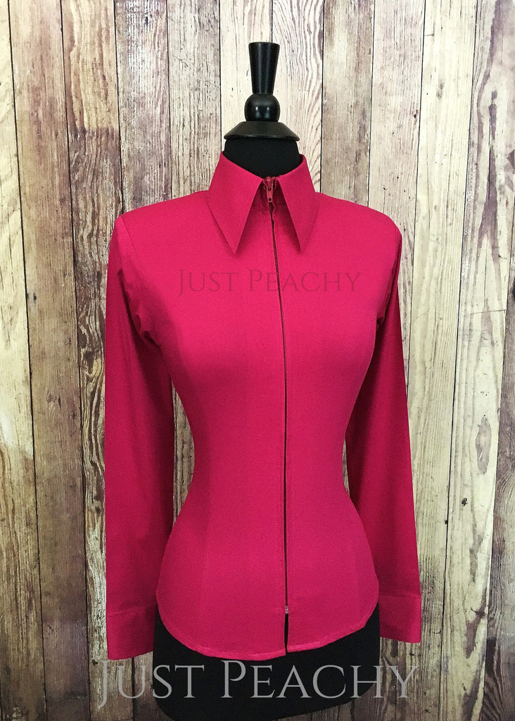 b6d7368a Just Peachy Zip Up Fitted Show Shirt ~ Fuchsia