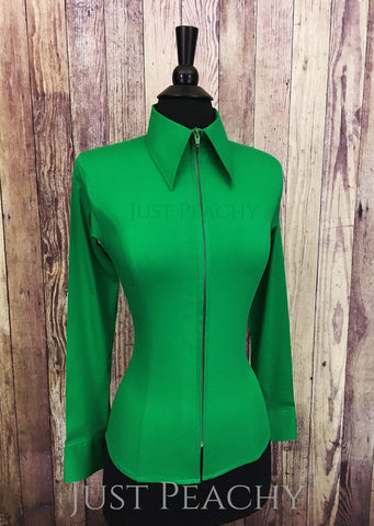Zip-up fitted western horse show shirt in Kelly Green - Just Peachy Show Clothing