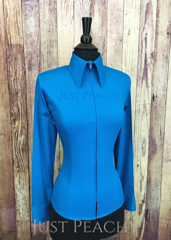 Zip-up fitted western horse show shirt in Turquoise - Just Peachy Show Clothing