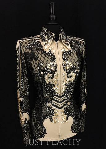 Haute Couture Show Clothing western showmanship jacket in black and champagne