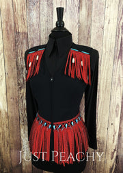 Red Turquoise And Black Fringe Vest By Haute Couture ~ Ladies Small Western Horse Show