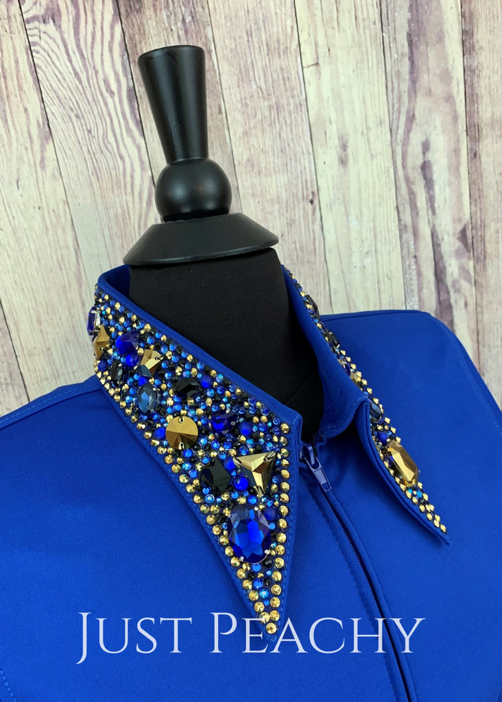 The Simply Perfect Horse Show Shirt In Royal Blue With Golds By Deb Moyer ~ Ladies Medium Western