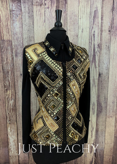 Gold And Black Geometric Vest Set By Diane Olsen ~ Ladies Small Western Horse Show