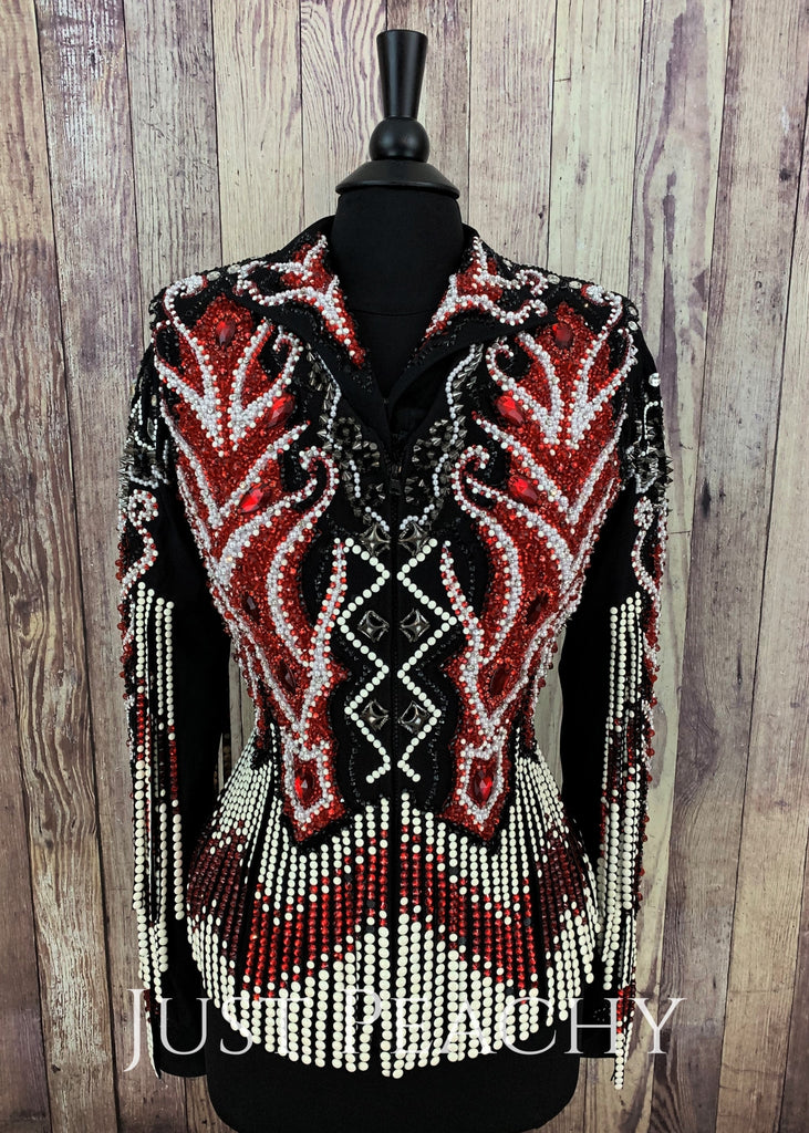 Red White And Black Fringe Vest Set By Showtime Show Clothing ~ Ladies Large Western Horse