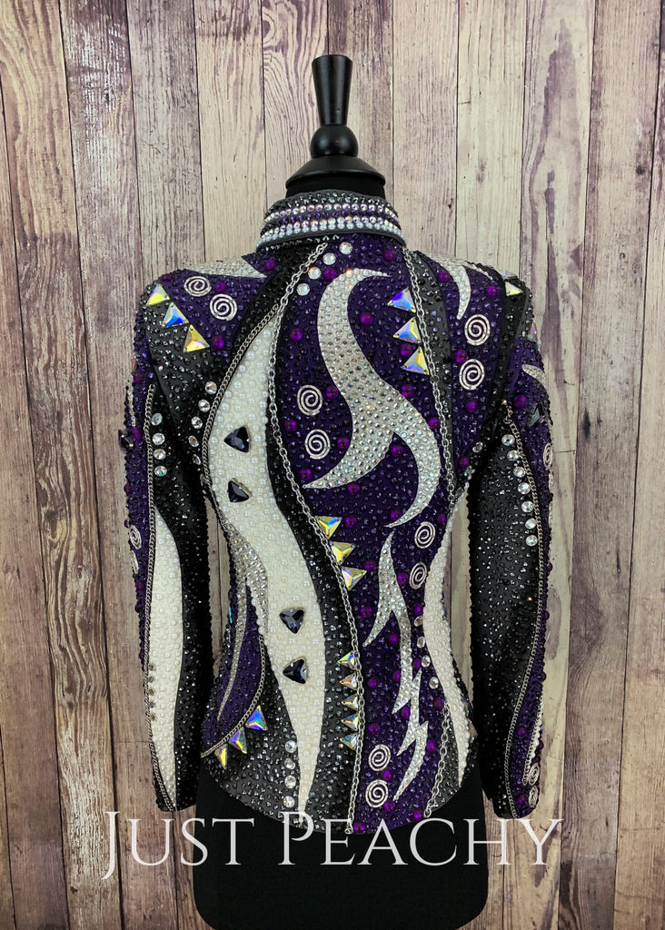 Purple Gunmetal White And Black Jacket By Trudy ~ Youth Xl/ladies Xs Western Horse Show