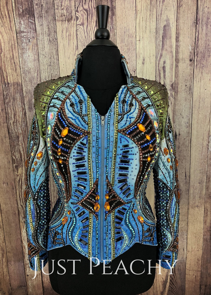Blue And Olive Green Jacket By La Collezione Di Anna ~ Ladies Medium/large Western Horse Show