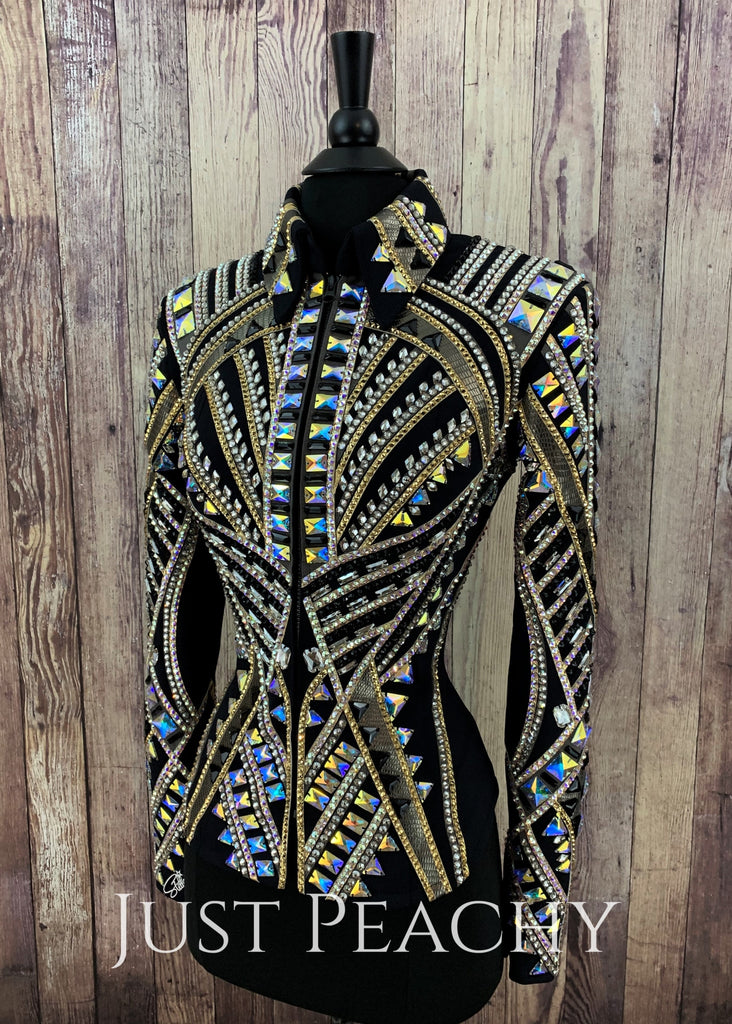 Black And Burnished Gold Jacket By Stella ~ Ladies Xs/small Western Horse Show