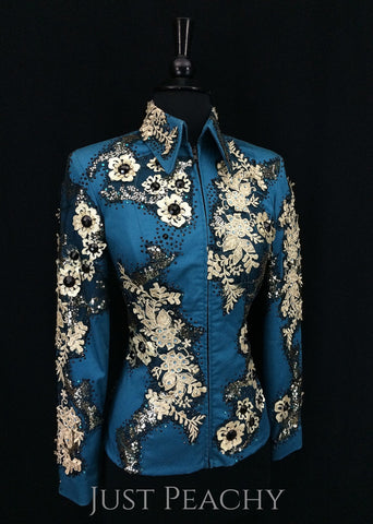 Teal, Black and Gold Jacket by On Pattern Designs ~ Ladies XS - Just Peachy