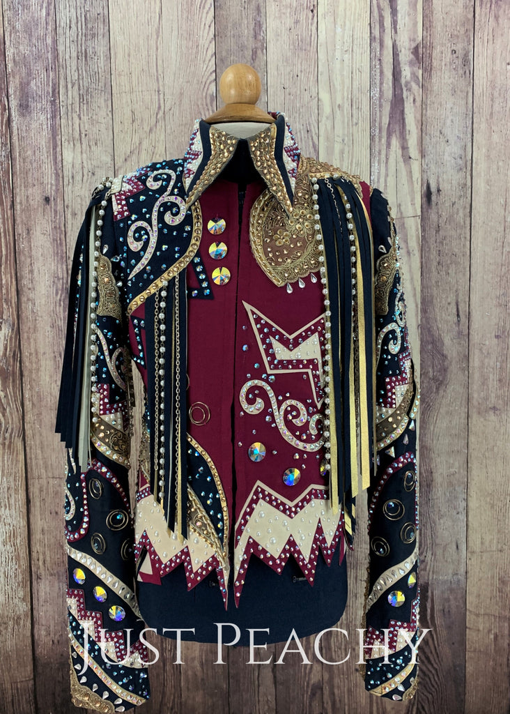 Navy Fuchsia And Gold Youth Horsemanship Vest Outfit With Chaps ~ Medium/large Western