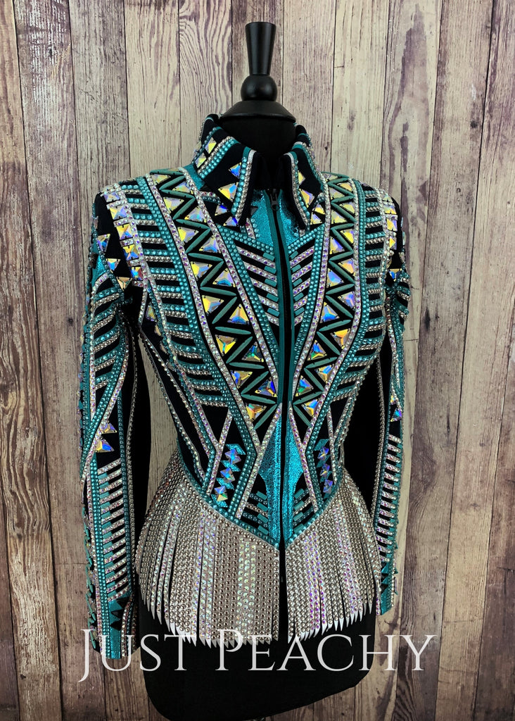 Teal Silver And Black Riding Jacket With Fringe By Stella ~ Ladies Small Western Horse Show