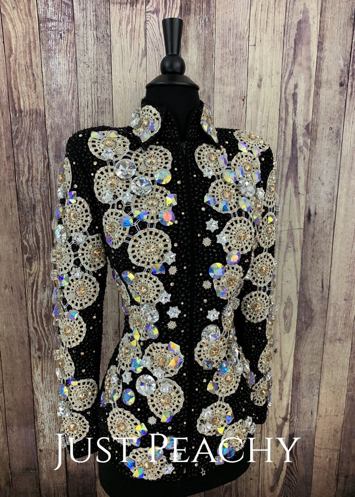 Black And Champagne Crystal Jacket By Lenka Fogltonova ~ Ladies Xs/small Western Showmanship