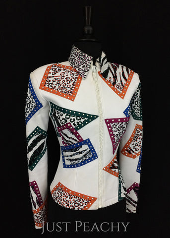 White Animal Print Color Block Jacket by Showtime ~ Youth XL/Ladies XS - Just Peachy