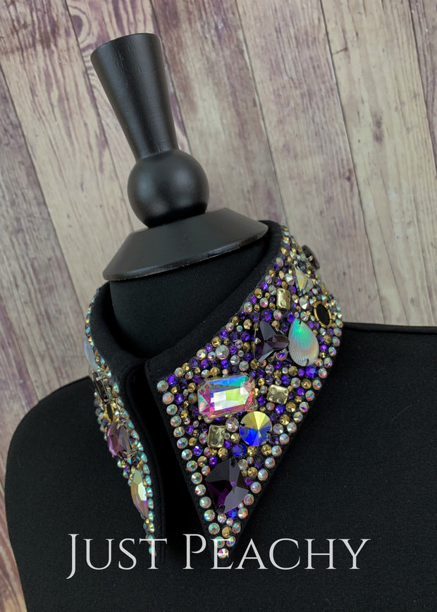 Simple Treasures Horsemanship Shirt In Jet Black With Purples And Golds By Deb Moyer ~ Ladies Xs