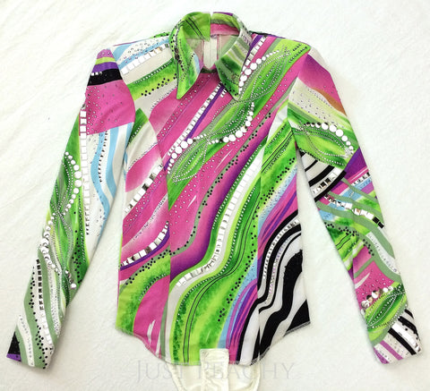 Green Abstract Horsemanship Shirt by Paula's Place ~ Youth Large - Just Peachy
