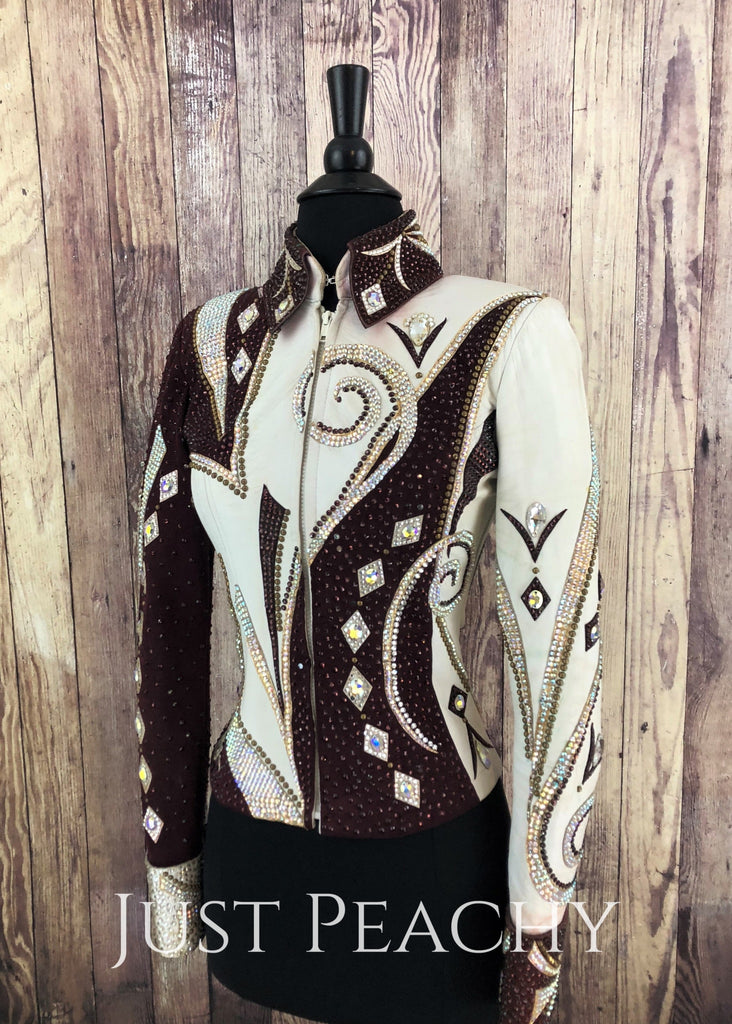 Merlot White And Gold Riding Outfit With Chaps By Lindsey James Western Horse Show