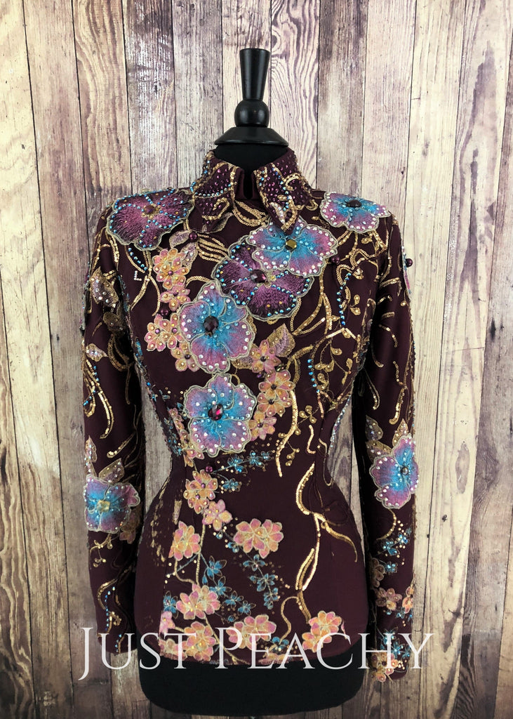 Burgundy And Gold Horsemanship Shirt By Dry Creek Designs ~ Ladies Small/medium Western