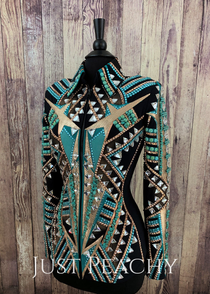 Rose Gold And Turquoise Stingray Showmanship Jacket By Stella ~ Ladies Small Western