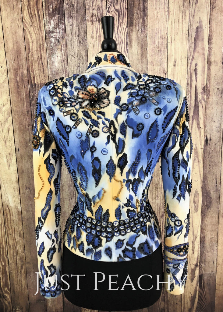 Blue Gold And Black Jacket By Showtime ~ Ladies Small Western Horse Show