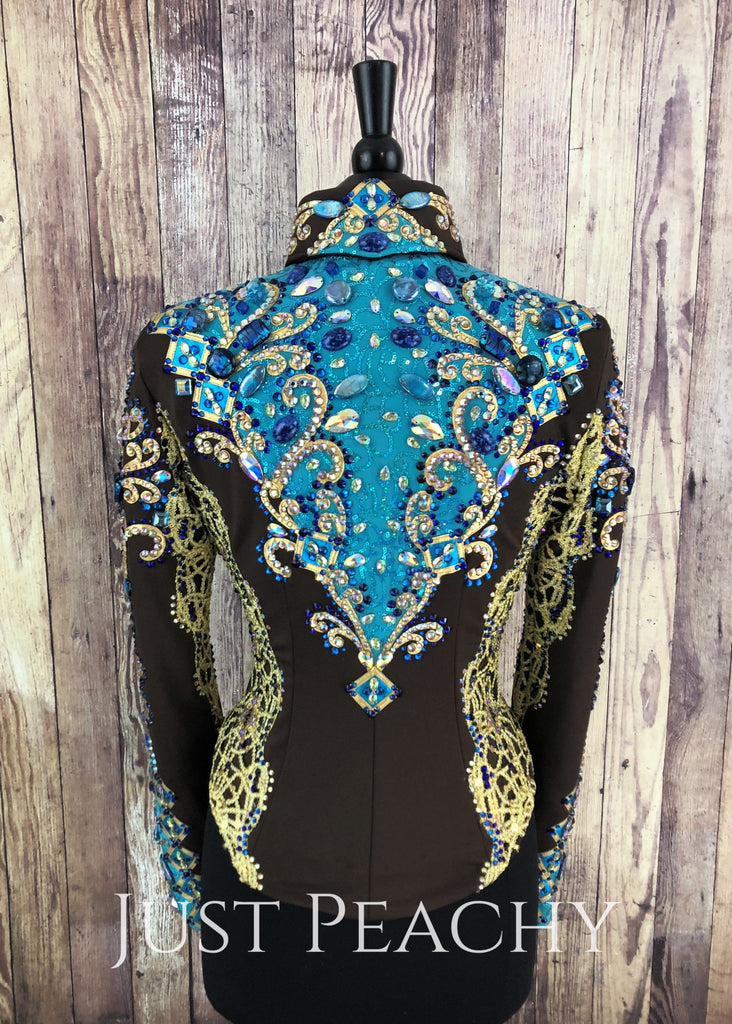 Chocolate Brown Turquoise And Gold Jacket By Woods ~ Ladies Small Western Horse Show